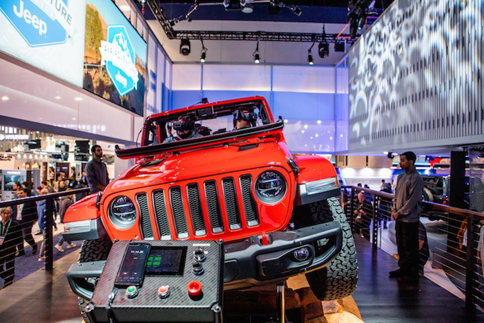 Display offered virtual reality off road experience in a Jeep Wrangler Rubicon.
