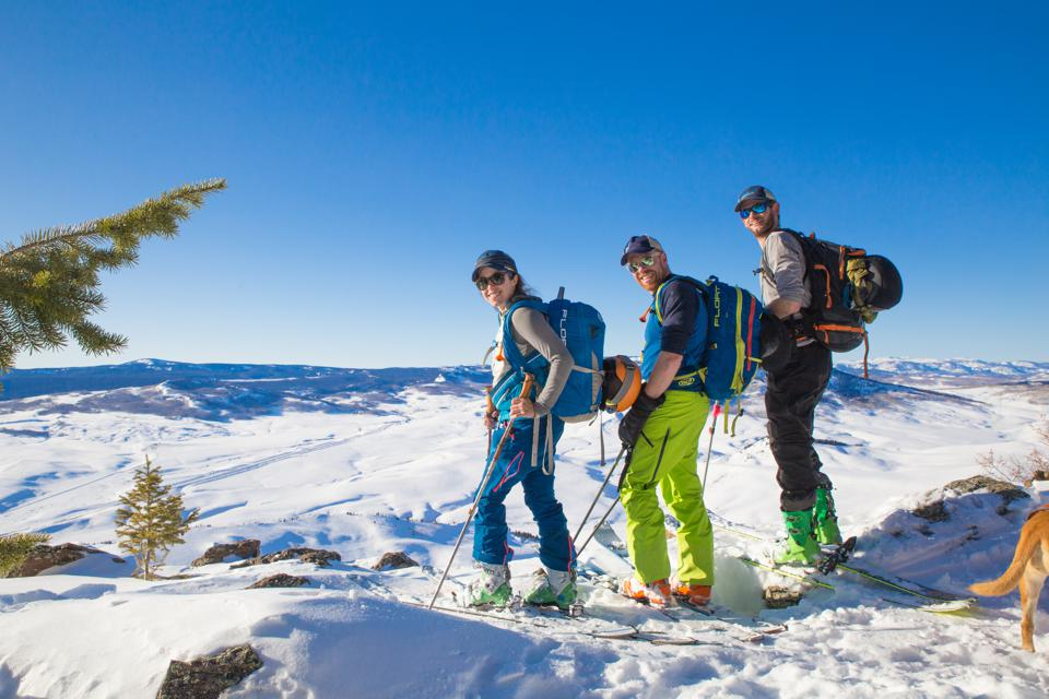 Three skiers at Bluebird Backcountry