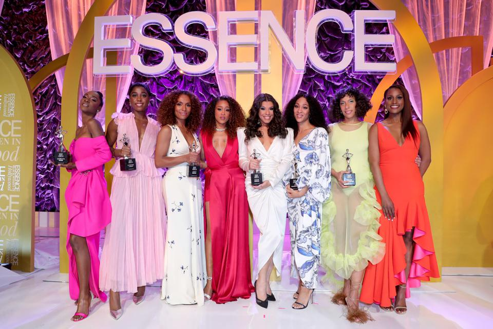 BEVERLY HILLS, CALIFORNIA - FEBRUARY 06: (L-R) Honoree Angelica Ross, honoree Lashana Lynch, honoree Janet Mock, Eve, honoree Hailie Sahar, honoree Mj Rodriguez, honoree Melina Matsoukas, and Issa Rae pose onstage during the 2020 13th Annual ESSENCE Black Women in Hollywood Luncheon at Beverly Wilshire, A Four Seasons Hotel on February 06, 2020 in Beverly Hills, California.