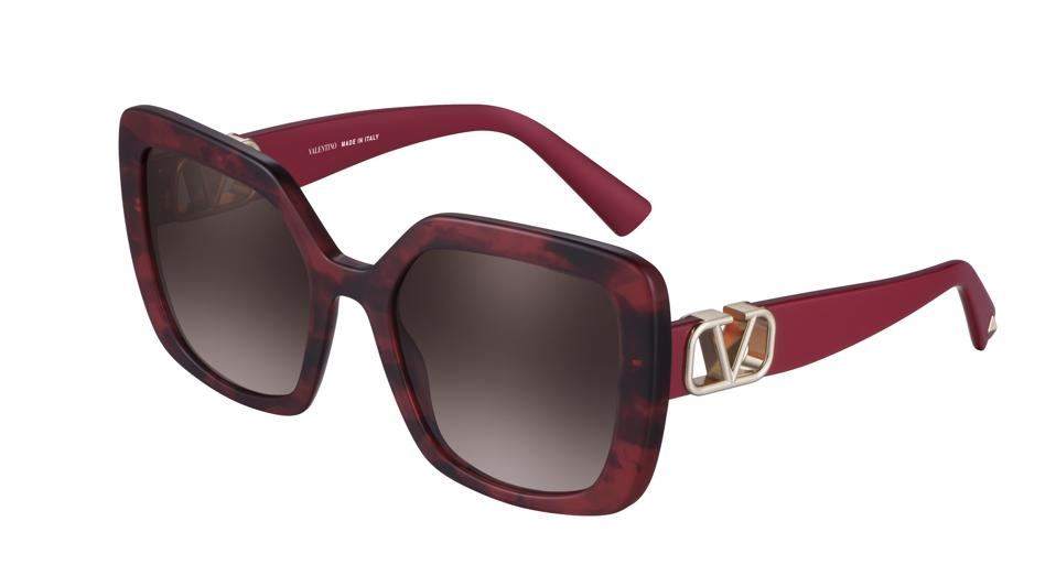 Red oversized square eyewear by Valentino
