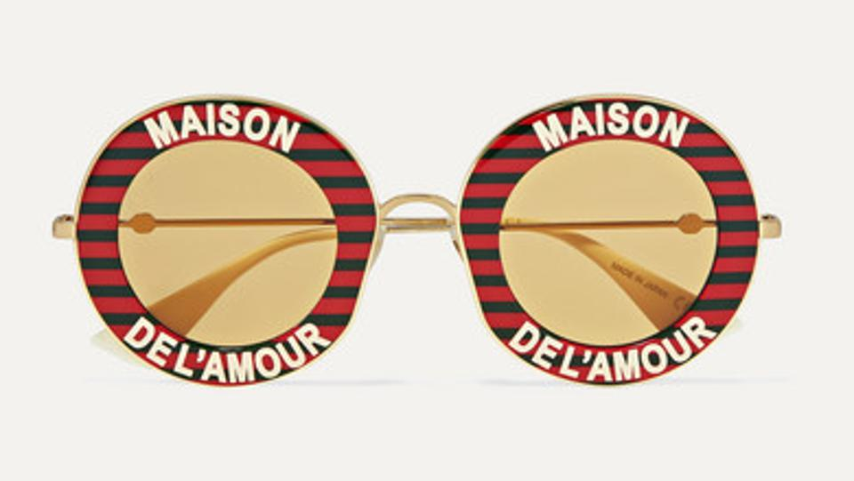 Red Maison de lAmour Round Frame Eyewear by Gucci