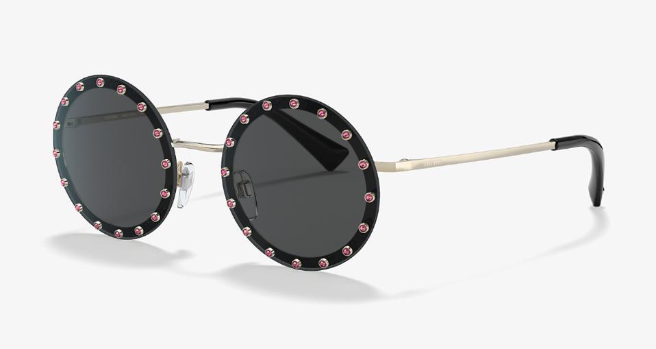 Black embellished round eyewear by Valentino
