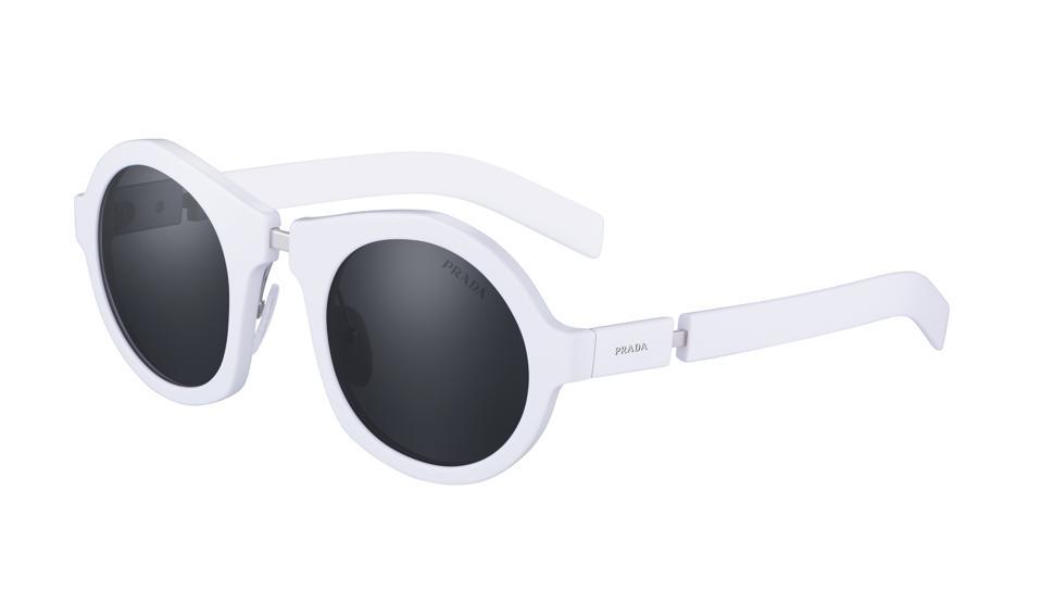 White round graphic eyewear by Prada