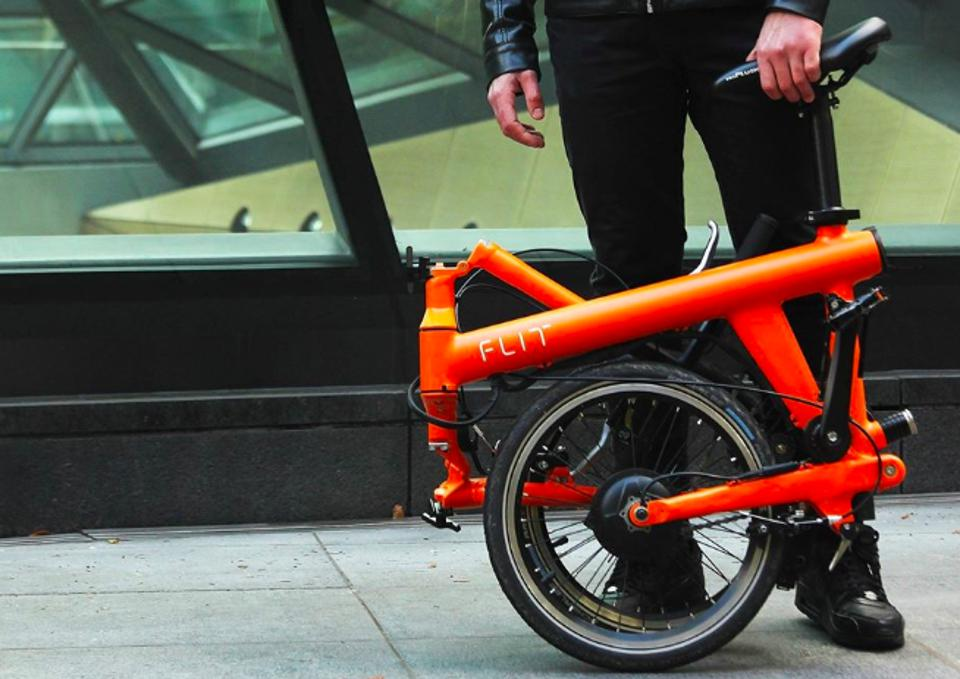 The Flit e-bike folded up