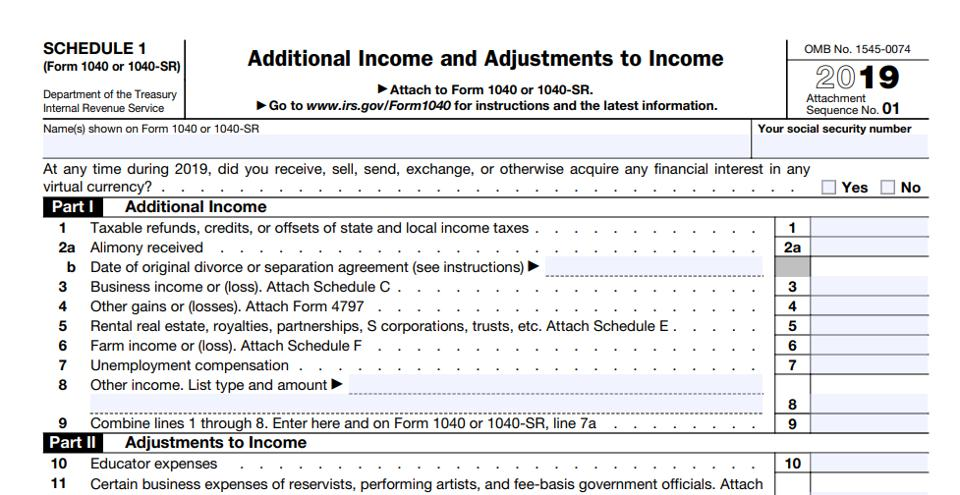IRS Schedule 1 crypto question