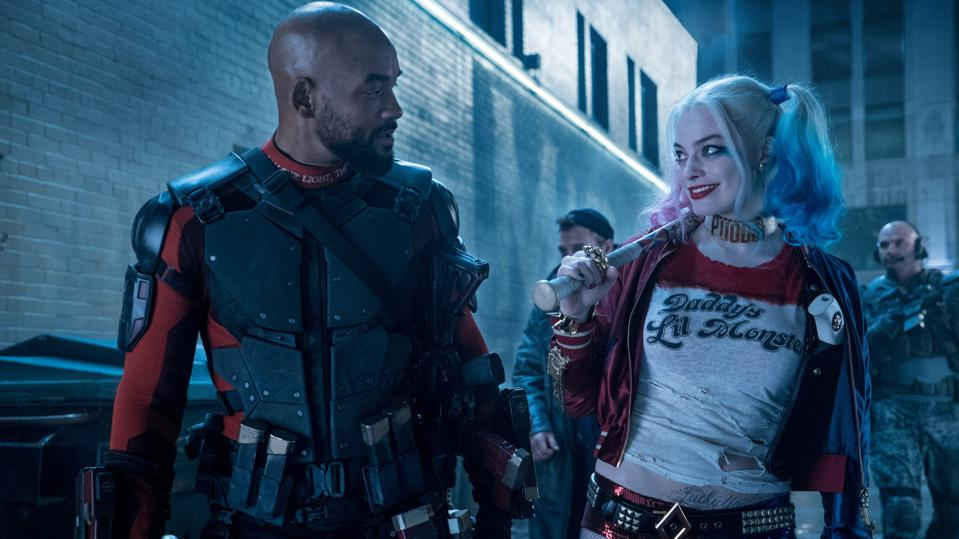 Will Smith as Deadshot and Margot Robbie as Harley Quinn in 'Suicide Squad'