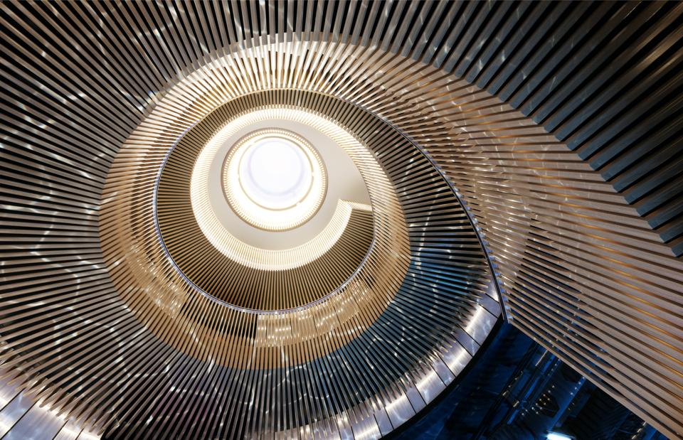 The staircase aboard hydrogen-powered Aqua designed by Sinot Yacht Design & Architecture