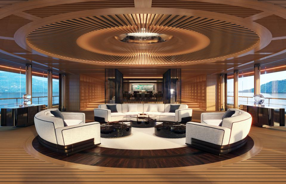 The beach deck lounge aboard the 376-foot-long sustainable suoeryacht from Sinot Yacht Architecture & Design.