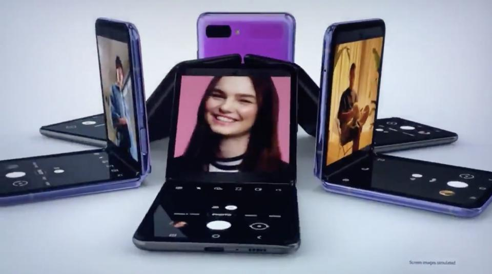 The Samsung Galaxy Z Flip as shown on a television ad.