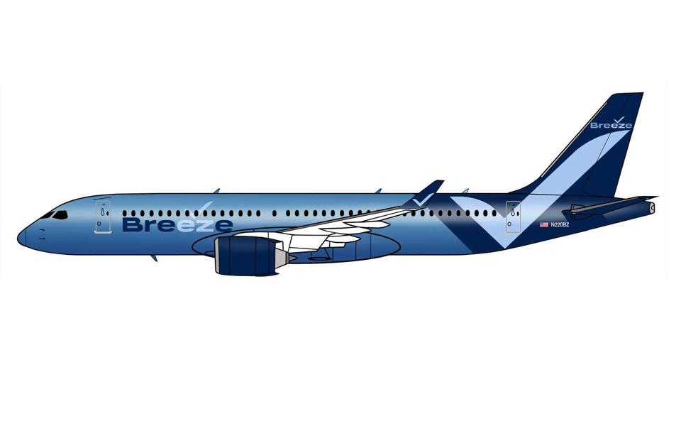 Breeze Airways' paint scheme.