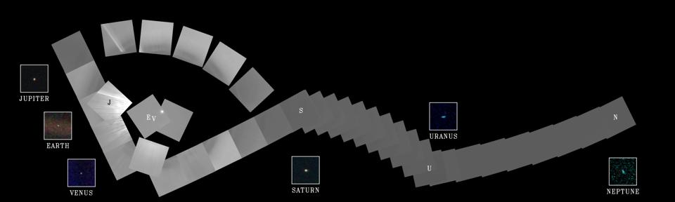 Voyager 1's ″Family Portrait″. The cameras of Voyager 1 on Feb. 14, 1990, pointed back toward the sun and took a series of pictures of the sun and the planets, making the first ever ″portrait″ of our solar system as seen from the outside.
