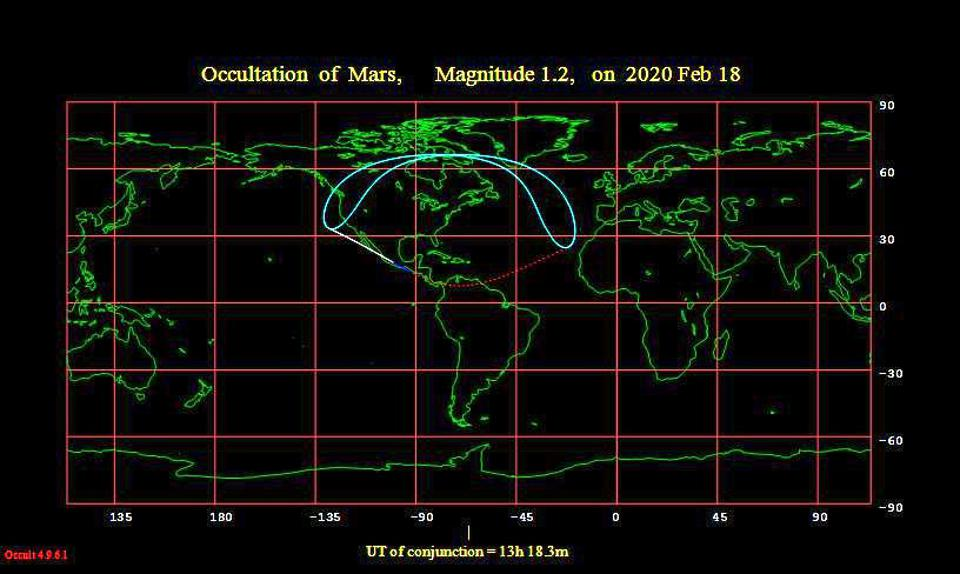 A map from the International Occultation Timing Association showing Moon-Mars occultation predictions of Mars for February 18, 2020.