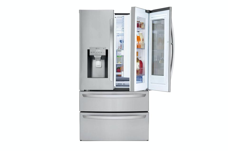Silver LG InstaView Fridge on a white background.