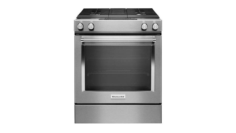 Stainless steel KitchenAid self-cleaning convection range