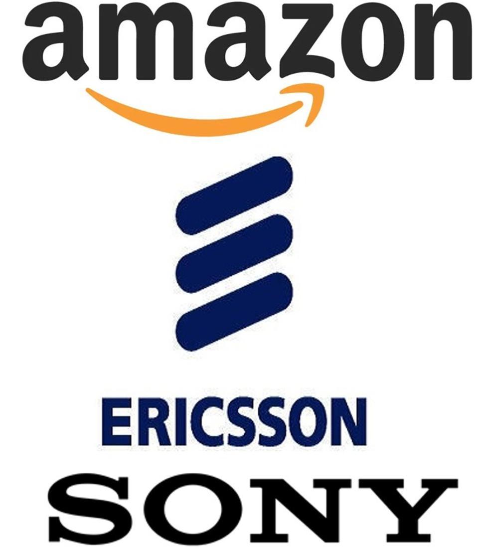 Company logos for Amazon, Ericsson, and Sony.