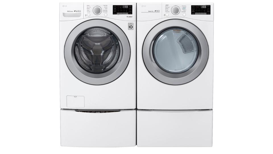 White LG washers and dryers on a white background.