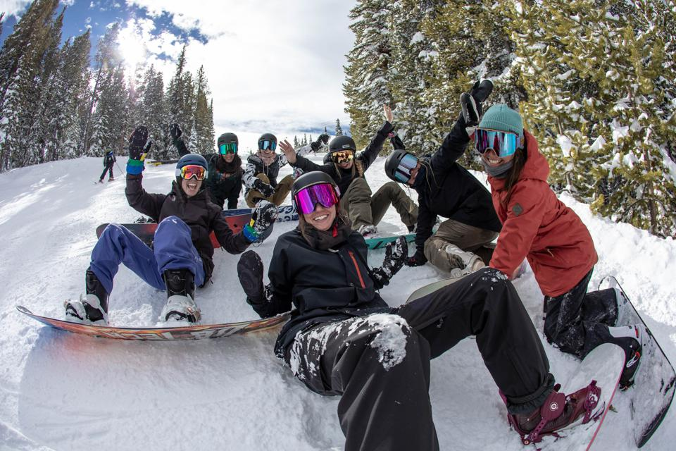 Female snowboarders at Beyond the Boundaries Ride Day at Winter Dew Tour 2020
