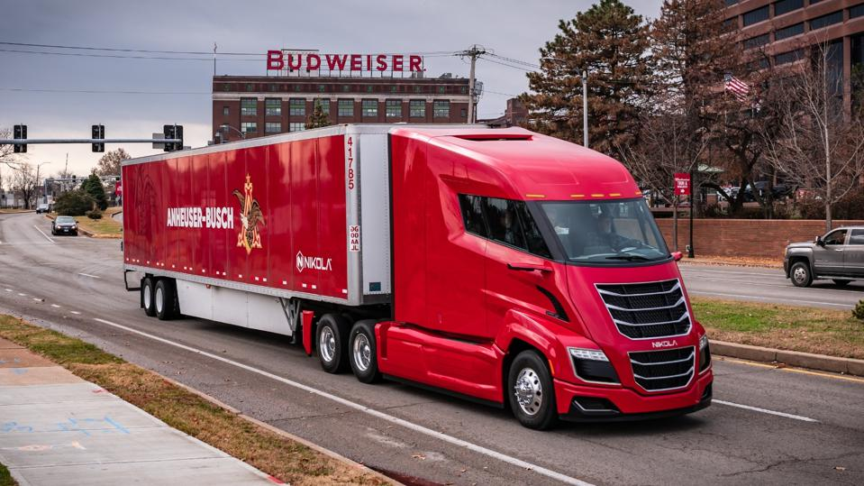 A Nikola One hydrogen-powered semi hauls a load of Budweiser beer for Anheuser-Busch in Saint Louis in November 2019.