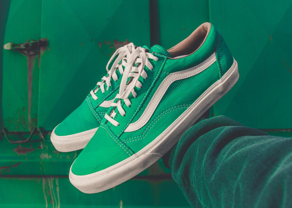 Green tennis shoes.