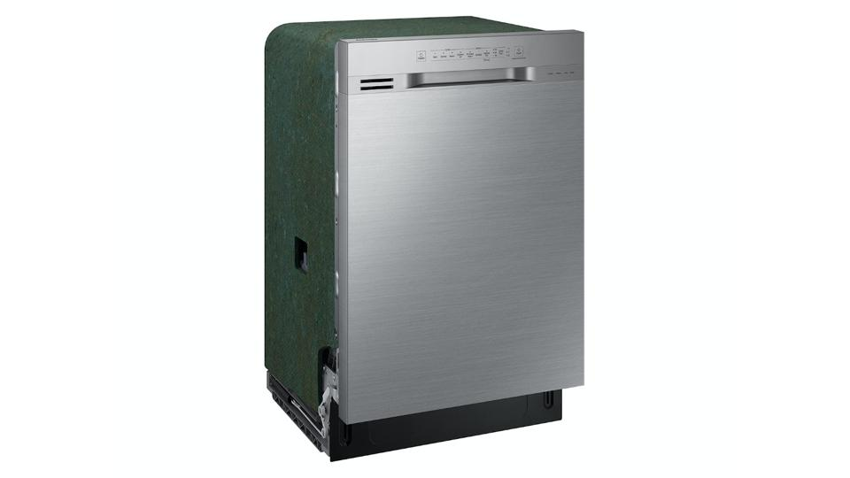 Stainless steel Samsung built-in dishwasher on a white background.