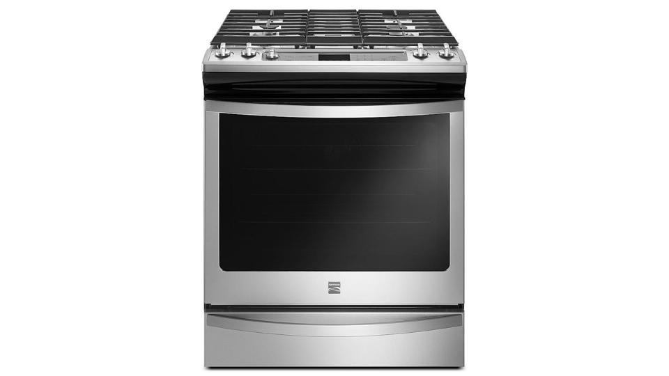 Stainless steel Kenmore 75123 range on a white background.