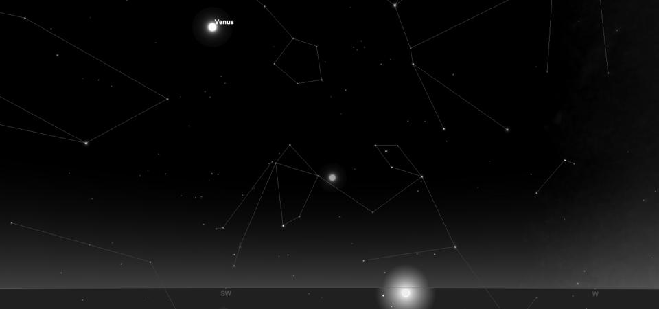 The positions of Venus and Mercury after sunset tonight, as seen from mid-northerly latitudes.