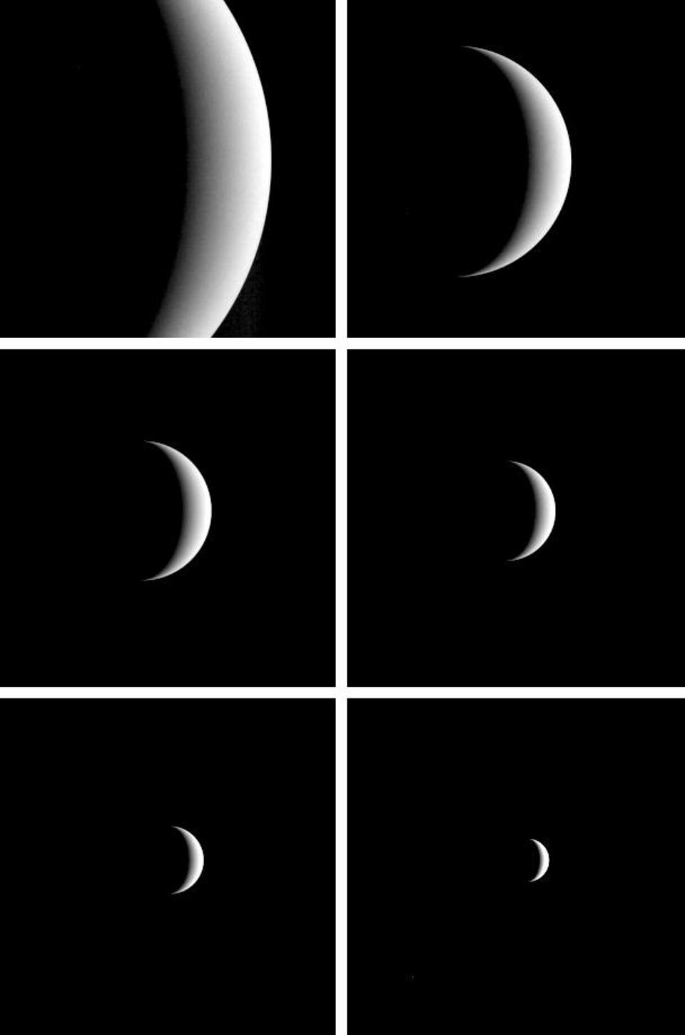 After acquiring hundreds of high-resolution images during close approach to Venus, NASA's MESSENGER turned its wide-angle camera back to the planet and acquired this departure sequence in 2007.