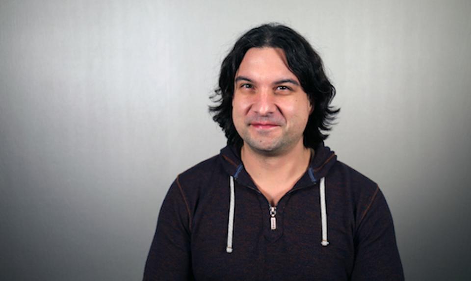 Perforce Software's Justin Reock, wearing a 'hoodie' top.
