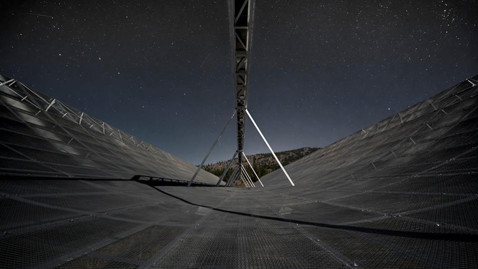 Photo of the CHIME radio telescope, which observed a regularly repeating fast radio burst.