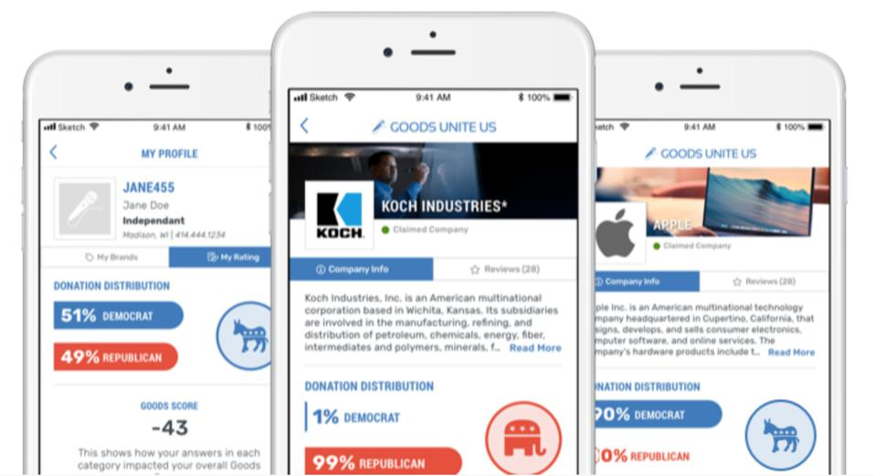 The Goods Unite Us app scores companies on the amounts and uses of political donations.