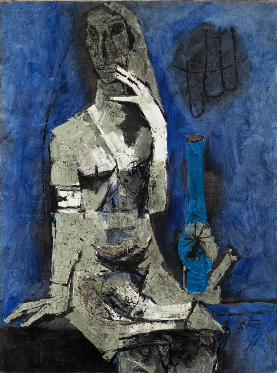 Maqbool Fida Husain (Indian), 'Virgin Night,' 1964. Oil on canvas, 39 3/4 x 29 1/2 in.