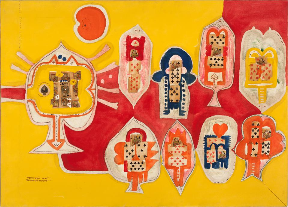 Prabhakar Barwe (Indian), 'King and Queen of Spades,' 1967. Oil and paper on canvas, 39 1/4 x 54 1/8 in.