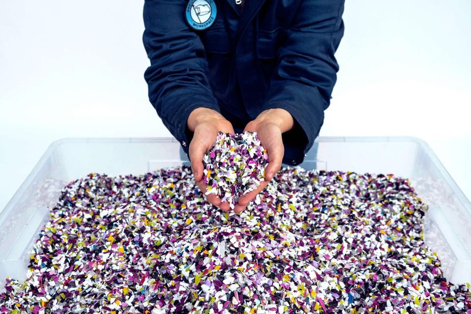 plastic, recycling, shredded