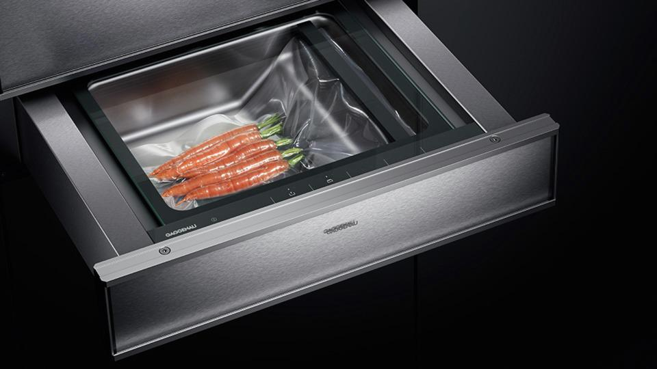 Gaggenau vacuum sealing drawer for sous vide cooking.