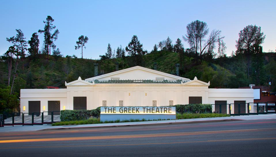 Exterior of the 5,870-seat music venue, The Greek Theater, located in Griffith Park in Los Angeles.