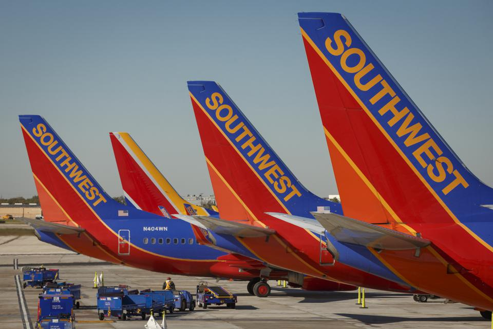 Southwest Airlines 737s parked at Houston's Hobby Airport