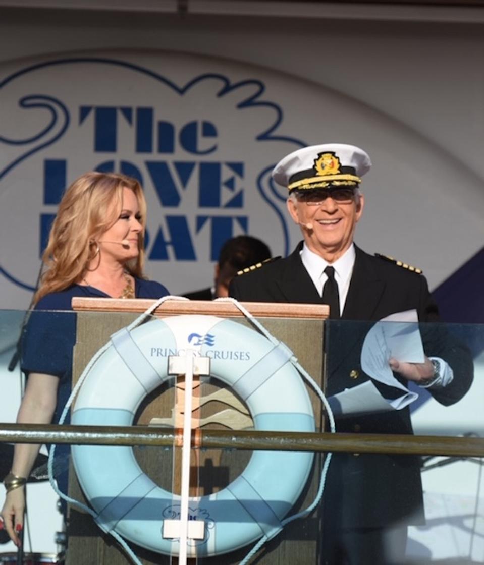 Jill Whelan and Gavin MacLeod officiating aboard Regal Princess
