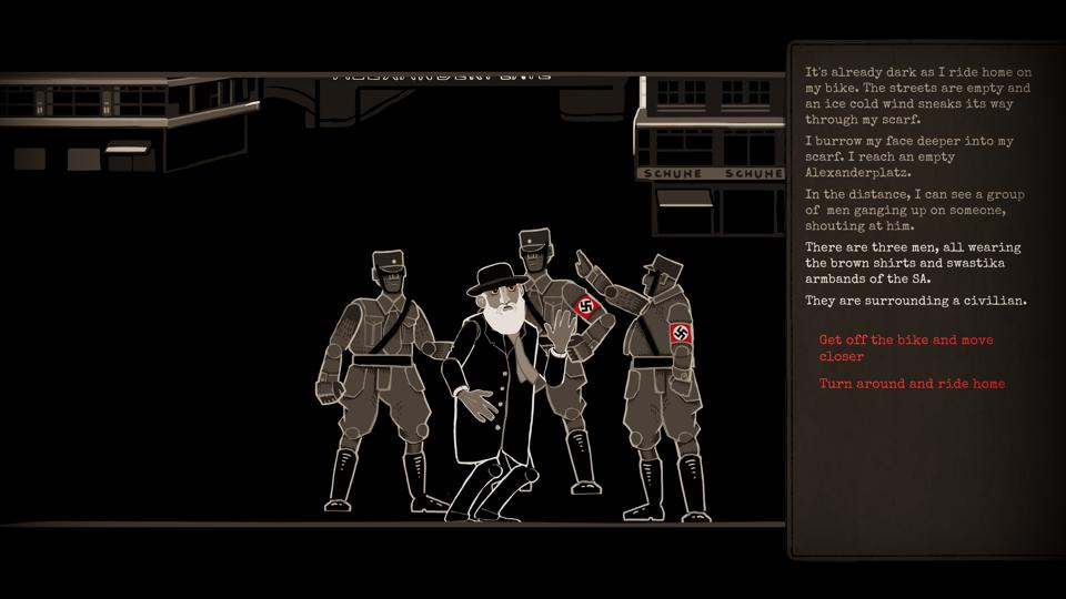 A Jewish man gets accosted by three members of the Nazi Sturmabteilung in one of the game's many cutscenes.