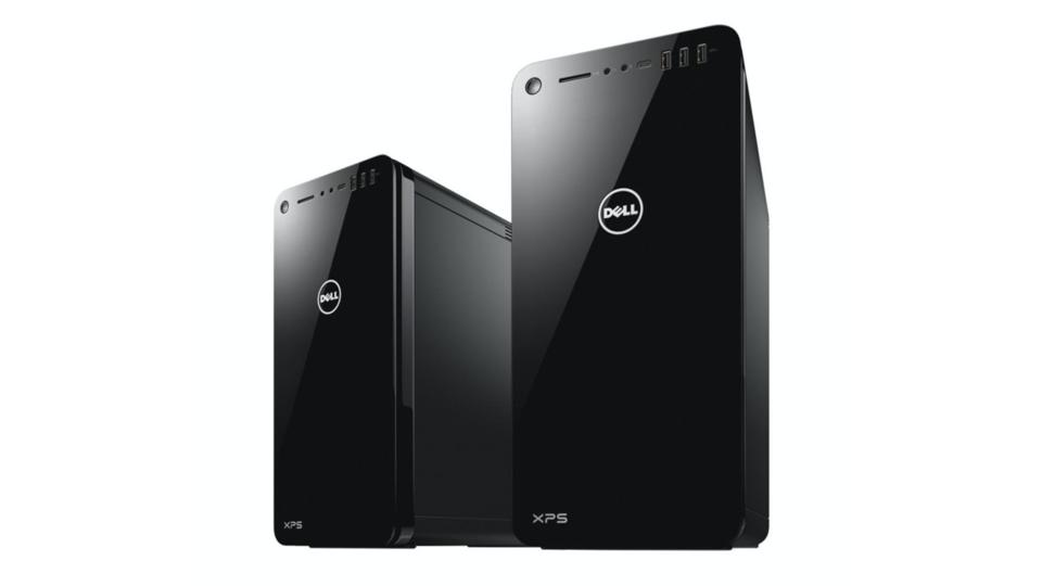 Black Dell XPS Tower computers on a white background.