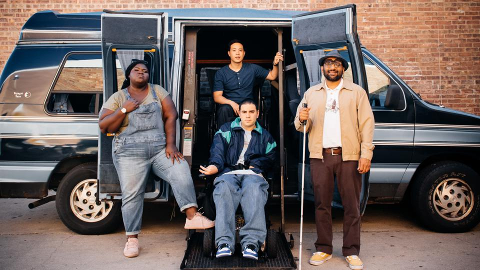 (From L-to-R) Gabourey Sidibe, Hayden Szeto, Ravi Patel with Grant Rosenmeyer in the front.