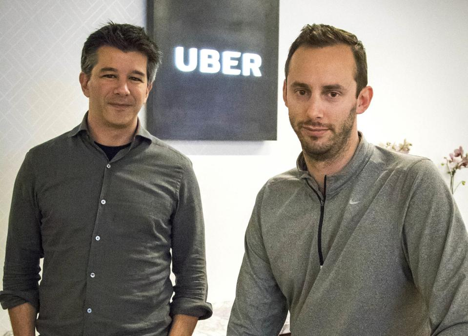 Former Uber CEO Travis Kalanick, left, and Anthony Levandowski in 2016.
