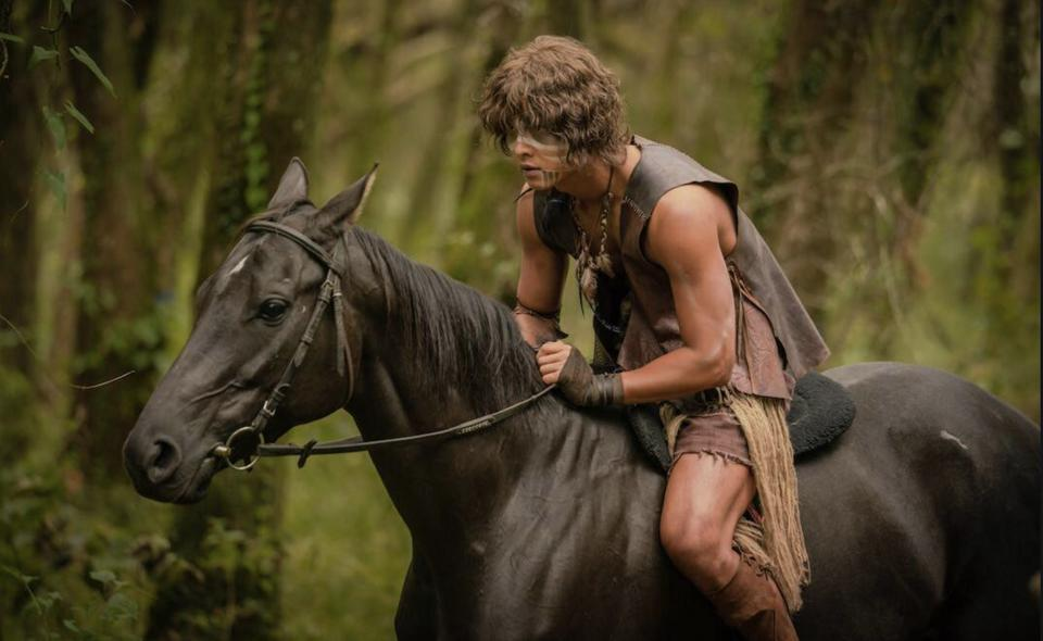 Song Joong-ki riding a horse in the series Arthdal Chronicles