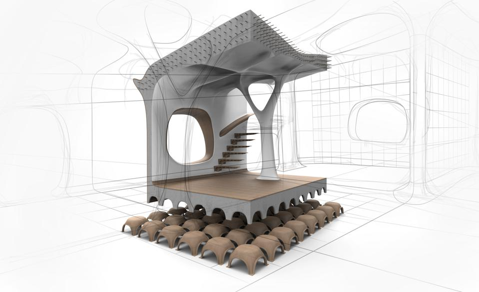Digital rendering of a concrete structure.