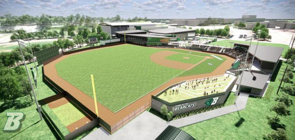 The picture shows a graphic of the expected design of Binghamton University's baseball stadium.