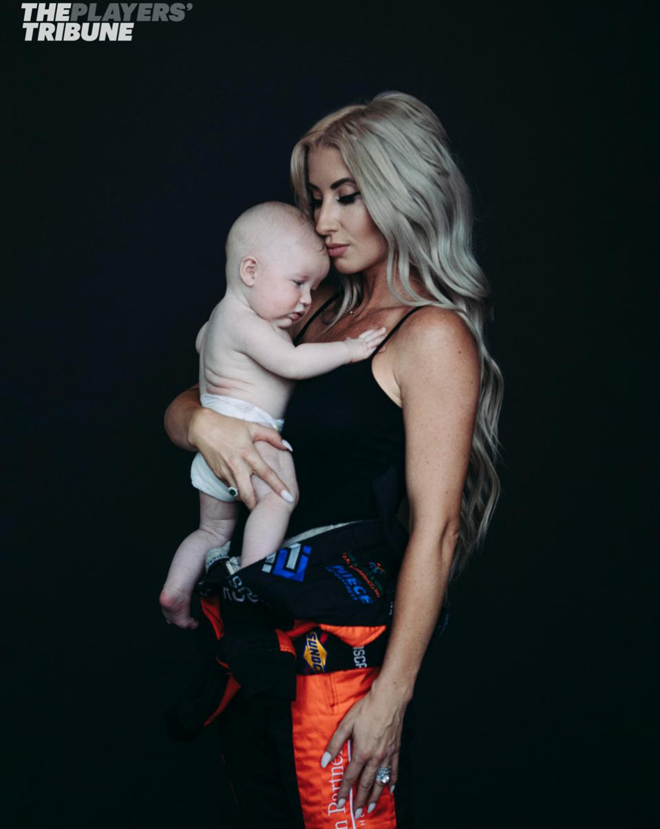 Angela Ruch with 11-month old son King, in a photo for The Players' Tribune, Feb 2020