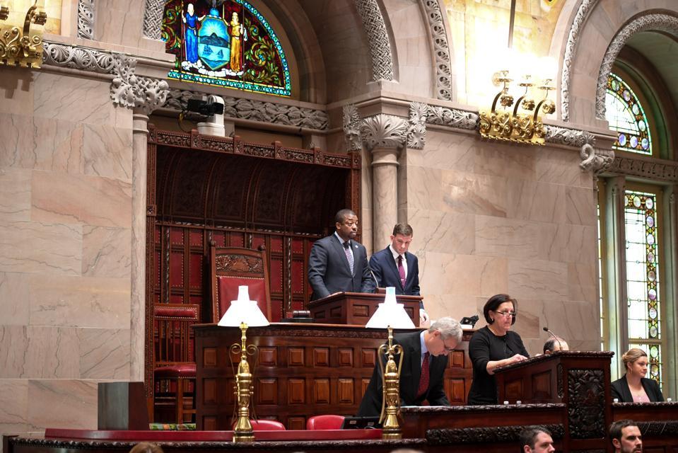 Senator Brian Benjamin presiding over the New York State Senate. Senate Photography