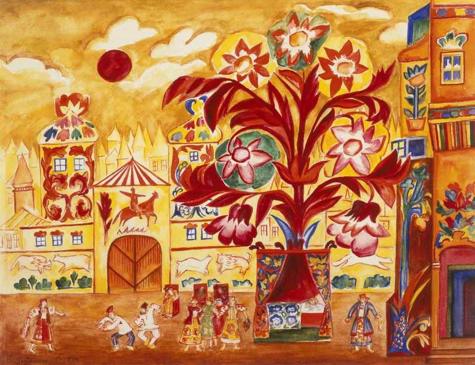 Natalia Gontcharova, scene design for Act I in ″Le Coq d'Or (The Golden Cockerel),″ 1913. Watercolor, gouache, and graphite on paper. Gift of Robert L.B. Tobin.