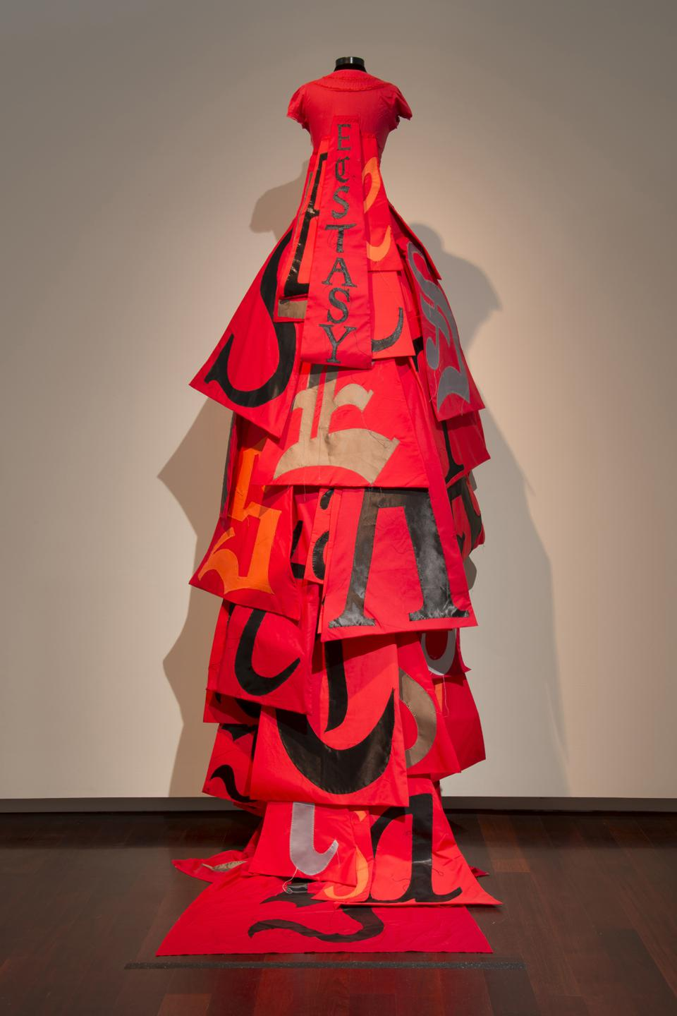 Lesley Dill, Red Ecstasy Dress from Divide Light, 2008. Cotton, thread, and crinoline.