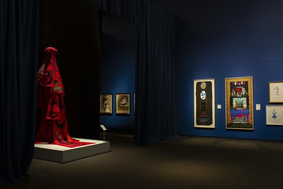 Installation view, ″Art of the Stage: Picasso to Hockney,″ at MFA, St. Petersburg.