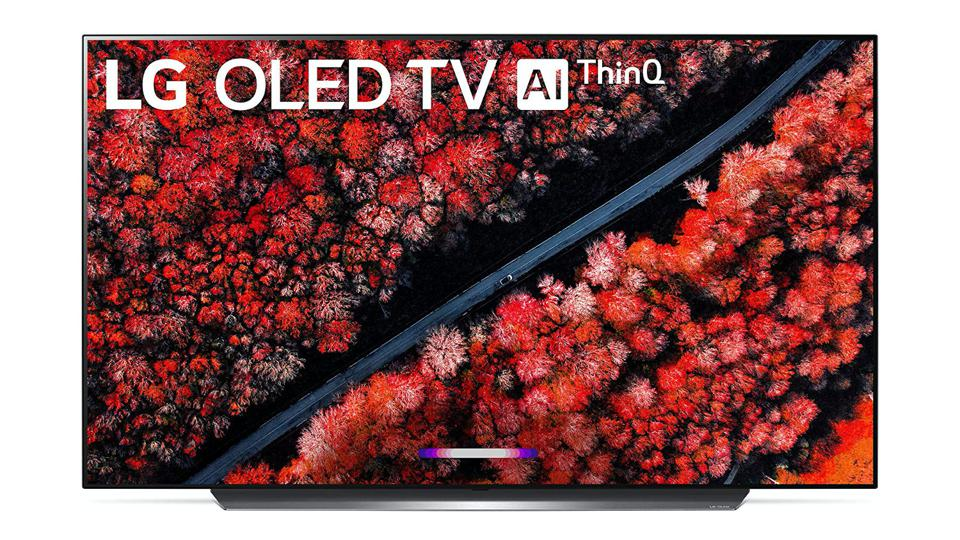 LG C9 OLED TV with a colorful image, on a white background.